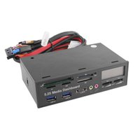 Wholesale Media Dashboard Card Reader - Wholesale- Portable All In 1 Media Dashboard 5.25 Inch CD ROM Multifunctional Panel 525F20 Card Reader USB Flash Memory Card Reader