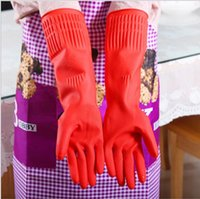 Wholesale Long Sleeve Gloves Fashion - Wholesale- New Kitchen Wash Dishes Cleaning Waterproof Long Sleeve Rubber Latex Gloves Tools S3