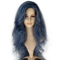 Wholesale heat resistent - Long Wavy Blue Frizzy Tousle Fluffy Movie Cosplay Full Costume Wig Heat Resistent Fiber