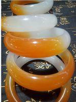Wholesale Yellow Jade Bangles - NEW Beautiful Burma yellow and white jade stone Bangles free shipping wholesale and retail fashion jewelry jade bangles C7