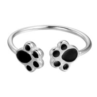 Wholesale Jewelry Dog Size - 5pcs lot Retro Real 925 Sterling Silver Jewelry Double Dog Paw Puppy Ring Adjustable 925-sterling-silver Ring Free Size