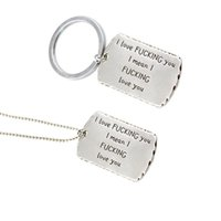 Wholesale Love Couple Accessories - hot sale Fashion accessories key rings Valentine gift engraving love you tag lover couple metal necklace keychains