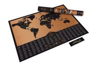 Wholesale Large World Poster - New Design Adventure Scratch Off Map Travelling List Black Scratch World Map Poster for Home Wall Decoration