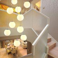 escaleras luces colgantes moderno simple saln restaurante arte vidriera chandelier creativo villa escalera dplex lmparas