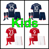 Wholesale Child Gold - 17 18 home away boys Soccer jersey 2017 kids VIDAL COATA LEWANDOWSKI MULLER kids kit jerseys ROBBEN GOTZE BOATENG ALABA child uniform
