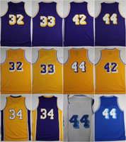 Wholesale Black Magic Player - Discount 2017 32 Magic Johnson Basketball Jerseys 33 Kareem Abdul-Jabbar 42 Artest Worthy 44 Jerry West 34 Shaquille ONeal with player name