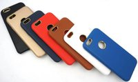 Wholesale Chrome Hard Cover - For iphone 7 Plus Shockproof Leather Skin Chrome Hard Case Phone Cover Shell Logo Hole for Apple iphone6 6 6s plus 5