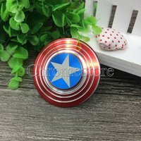 Wholesale Wholesale Retail Box - New Mini Fidget Toy Hand Spinner Metal Finger Stress Spinner Marvel Comics The Avengers Captain America Shield Fidget Spinners Retail Box