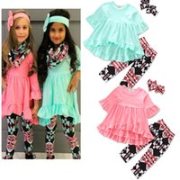 Wholesale Wholesale Baby Bubble Sets - INS Baby Girls Irregular Solid Dress+Plaid Long Pants+Bow Headband Sets Toddler Printed 3pcs Bubble Skirts Outfits