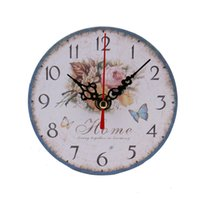 Wholesale Wholesale Vintage Alarm Clocks - Wholesale- Vintage Style Non-Ticking Silent Antique Wood Wall Clock for Home Kitchen Office