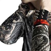 Wholesale Cool Sleeve Tattoos Men - Wholesale- Cool men's Temporary Fake Slip On Tattoo Arm Warmers Summer Sleeves Kit 6 Pcs Retail Wholesale 548Z