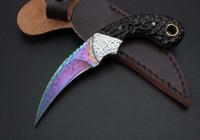 faca damasco azul venda por atacado-Blue Titanium Ebony Damasco Garra Karambit facas de sobrevivência ao ar livre frete grátis bem-vindo ao comprar EDC facas de presente para o Homem