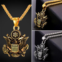 Wholesale Great Halloween Gifts - U7 Hot US Great Seal Pendant Necklace American Fashion Jewelry Stainless Steel Gold Plated Patriot Necklace for Men Gold Chain GP2493
