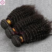 rosa pelo rizado brasileño al por mayor-8A pelo de la Virgen brasileña 3 Bundles Slove Rosa productos para el cabello de alta calidad brasileña Rizado rizado pelo virginal humano envío gratis