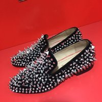 Men spikes loafers - Famous Luxury Designers Loubs Red Bottom Loafers Men Dress Shoes Spikes and Diamonds Glitter PIK PIK Business Casual Fashion