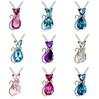 Wholesale Highly Steel Chain - Good A++ Girl Birthday Gift Highly Cute Bowknot Small Kit Necklace Short Crystal Accessories WFN072 (with chain) mix order 20 pieces a lot