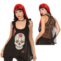 Wholesale Skull Back Top - Punk Style Skull Rose Print Loose Vest Sexy Women's Hollow Lace Back Bow Sleeveless Long Camisole