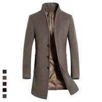 Großhandel- 2016 Fashion Mens Casual Wolle Mantel Single-Breasted Stand Kragen Solid Mens Lange Kaschmir Bueiness Mäntel Herren-Winter-Jacken 3XL