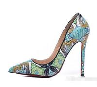 Wholesale Stiletto Heel Snake Patterns - 2017 New Fashion Luxury Snake Skin Pattern Red Bottom High Heels 12cm Thin Heel Shallow Mouth Women Brand Shoes OL 10-8cm Dress Wedding Shoe