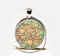 Wholesale Wholesale Romania - Wholesale Handcrafted Romania map pendant, Romania map necklace,Romania pendant Glass cabochon Necklace, vintage map jewelry