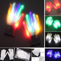 guantes de navidad iluminados al por mayor-Guante LED Guantes de iluminación de color intermitente Esqueleto de Halloween Navidad Pascua Etapa Apoyos Guantes Niños Adultos Guantes dedo de la mano HH7-97
