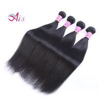 renk 32 saç örgüsü toptan satış-Ais Saç Brezilyalı Virgin İnsan Saç Uzantıları Örgüleri 4 Demetleri Düz Doğal 1B Renk 8-30 inç Hint Perulu Malezya Saç