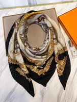 Wholesale Silk Square Scarves Heart - Women Luxury Square orange cashmere silk Shawl Wrap Scarf Horse Animal Luxury Designer Scarves