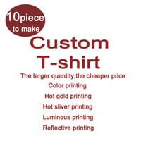 Wholesale Tshirt Logos Wholesale - Custom Your Logo Tshirt Printing Hot gold Silver stamping Tshirt