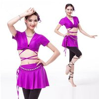 Wholesale Sexy Tops For Leggings - Belly dance costume 2017 new sexy short sleeve top+skirt+leggings+belly chain 4pcs suit for women belly dance competition costume set