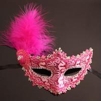 красивые маски оптовых-Мода сексуальный Венецианский кружева перо маска для глаз красивая принцесса вечеринок Хэллоуин маскарад маски маска для вечеринок ночной клуб маска