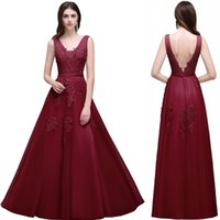 Wholesale Cheap Prom Dress Open Back - Vintage 2017 Lace Tulle Prom Dresses A Line V Neck with Appliques Open Back Evening Gowns Bridal Reception Dress Cheap CPA304
