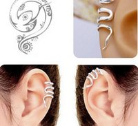 Wholesale Clip Snake Earring - Vintage earring jewelry Gothic Punk Snake Cartilage Ear Cuff Clip Wrap Earrings jewelry 50pcs Free Shipping