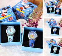 Wholesale Leather Gift Boxes Wholesale - Free Shipping 12 Pcs Cartoon Mickey Kids Girls Boys Children Students Frozen Quartz Wrist Watch Very Popular have gift box