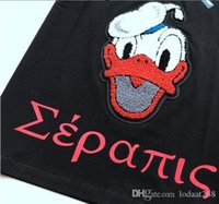Wholesale Trendy Mens White Shirt - GUC Newest Fashion Donald Duck floss embroidery towel printed letters Casual T-Shirt Summer trendy Mens Short Sleeve Tee Tops Boy Girl Funny