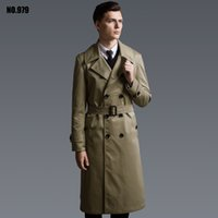 Wholesale hooded trench men - Wholesale- S-6XL!Speing And Autumn Fashion Ultra Long Trench Male Double Breasted Overcoat Plus Size Outerwear Lale Long-sleeve Trench