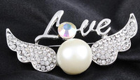 Wholesale Scarves Korea - The new angel letters brooch South Korea han edition female chain scarves buckle restoring ancient ways Diamond crystal pearl brooch brooche