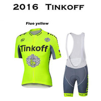 Wholesale jersey cycling saxo green - Tour De France Tinkoff Saxo Bank Cycling Jerseys Quick Dry Short Sleeves Bike Wear size XS XL Bicyle Clothes White Bib Fluo Color