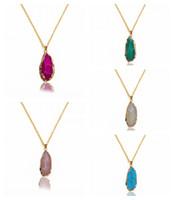 achat geode anhänger großhandel-Mode Unregelmäßige Natürliche Achat Geode Halskette Frauen Gold Edge Rock Achat Scheibe Anhänger Halskette Freies Gold Kette Für Frauen