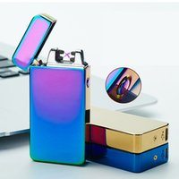 Wholesale Usb Electric Cigarette Lighters - 2017 new fashion and hot selling USB Electric Dual Arc Metal Flameless Torch Rechargeable Windproof Lighter
