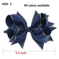"Wholesale Navy Baby Hair - 6 style available ! 5.5"" Navy Children Baby Girls Hair Bows With 6cm Hair Clips Luxry Gold Ribbon Bows For Girls Hair Accessories 50pcs"
