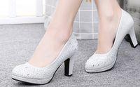 обувь для невесты оптовых-2017 Sexy hot sell невеста обувь Кристалл яркий дрель обувь круглая голова высокий каблук свадебные туфли shuoshuo6588