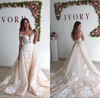 Wholesale Removable Gold Caps - Vintage Ivory Detachable Skirt Wedding Dress 2017 Sexy Off The Shoulder Backless Mermaid Removable Train Lace Bridal Bride Wedding Gowns