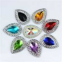 Wholesale Teardrop Blue Rhinestone - 13*18mm 100pcs Drop shape Dazzling AB colour resin Rhinestones sew on crystal gem stones flatback ZZ-36