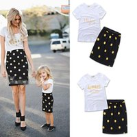 Wholesale Shirts Match Skirts - Mother and Daughter ins dress suits Summer Girls Kids 2pcs set letter White T shirt dots skirt Suit Family Matching Outfits clothes B001