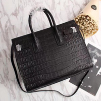 Wholesale Top Grain Leather Bags - wholesale top quality hot sell fashion women Genuine Leather handbag crocodile grain Sac De Jour Shoulder bag 324823