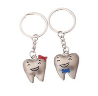 Wholesale Tooth Lover Couple Key Chain - CartoonTeeth key chains teeth smile happiness couple Men's and women's key chain pendant
