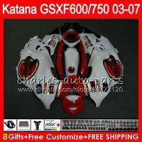 Wholesale Suzuki Gsxf Fairings - 8 Lucky Strike Gifts For SUZUKI KATANA GSXF750 GSXF600 03 04 05 06 07 6HM11 GSX600F GSX750F GSXF 600 750 2003 2004 2005 2006 2007 Fairing