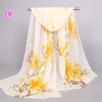 Wholesale Decorated Headbands - The New Floral Silk Scarves Women the 5 wholesale Accessory Flowers Beach Decorate 4 Color Chiffon Fashion Pastoral Style