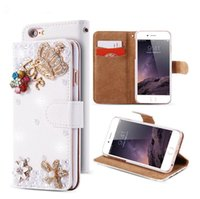 Wholesale Diamond Wallet Iphone Case - Luxury DIY Butterfly Crown Diamond Glitter Rhinestone Lichee Pattern Flip PU Leather Wallet Case For Iphone 5s 6 6s Plus 7 7plus Samsung S7