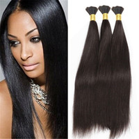 Wholesale Straight Bulk Hair For Braiding - 8a Micro mini Braiding Hair Brazilian Bulk Hair For Braiding 3 Bundles Lot 100% Human Straight Brazilian Braiding Hair
